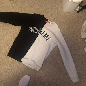 Supreme split crewneck sweatshirt black and white